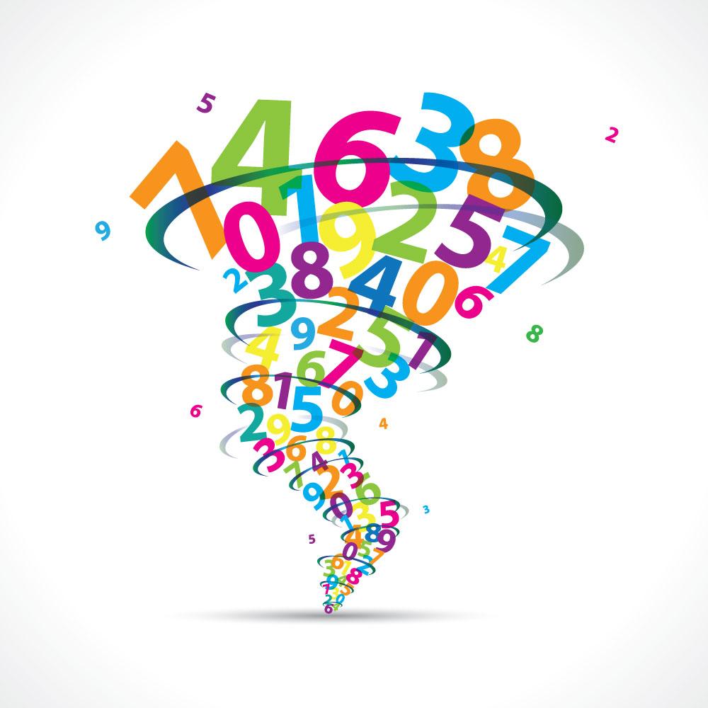 Tornade de chiffres illustrant le calcul d'enveloppe proposé par Conseil Prêt Immo